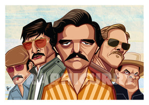 Caricature Art Poster of Narcos Television Series. Vector Art by Prasad Bhat showing the lead cast of the show in their caricature form.