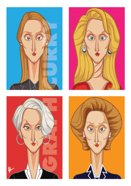 Meryl Streep Framed Poster. Caricature art by Prasad Bhat. Image shows frame of the artwork with a vibrant colored composition. It shows Meryl in her four avatars from different movies.