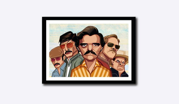 Framed Caricature Art Poster of Narcos Television Series. Vector Art by Prasad Bhat showing the entire cast of the show in their caricature form.
