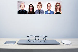 Wall Hung Laminate for Tribute to Suits characters by artist Prasad Bhat
