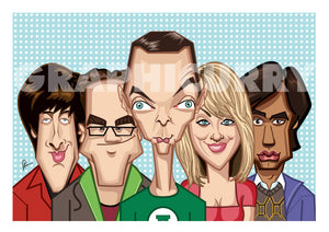 The tribute caricature artwork of Big Bang Theory in Vector Style Illustration by Prasad Bhat. The image shows the five lead characters.