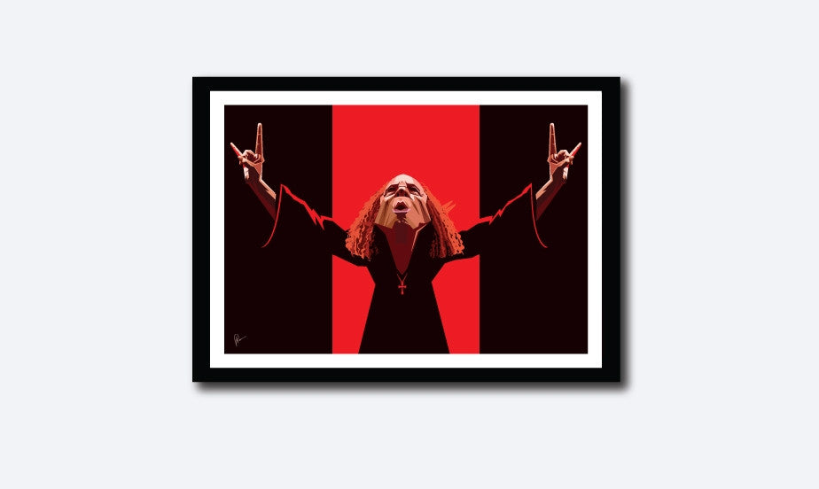 Ronnie Jamse Dio Framed Poster. Artwork by Prasad Bhat. Image shows the art composition which is predominantly in red and black colors.