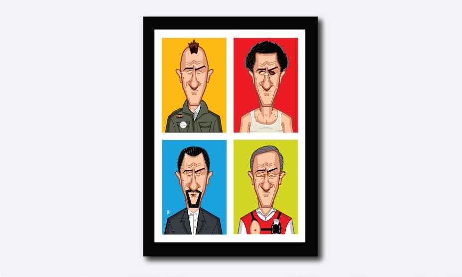 Robert Deniro Framed Poster. Caricature Art by Prasad Bhat. Part of the Evolution Series showing the famous actor in four of his best roles placed in a block composition in vibrant colors.