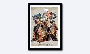 Framed Game of Thrones Poster. Caricature Art by Prasad Bhat showcasing all the lead characters in a detailed composition.