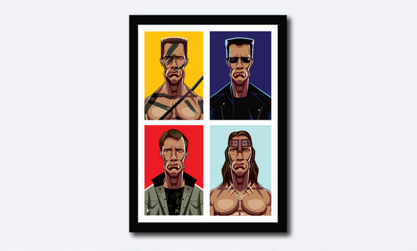 Framed Caricature Art Poster of Arnold Schwarznegger. Image shows the colorful composition in blocks with four of his avatars from Terminator 80s, 90s , Conan and Commando.
