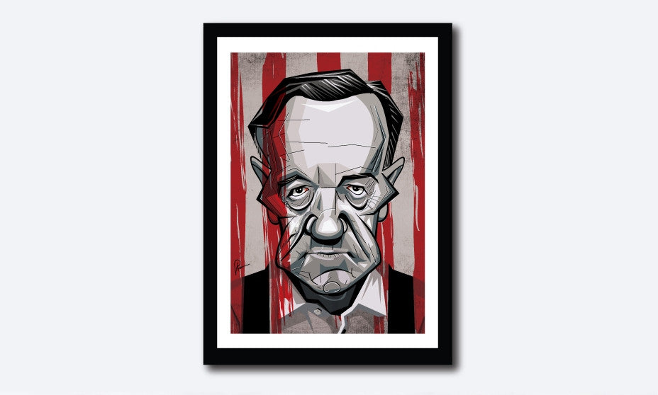Framed Frank Underwood Poster portrayed by Kevin Spacey. Caricature Art Tribute by Prasad Bhat. Image shows him staring right on with his grim eyes and a bloody backdrop.