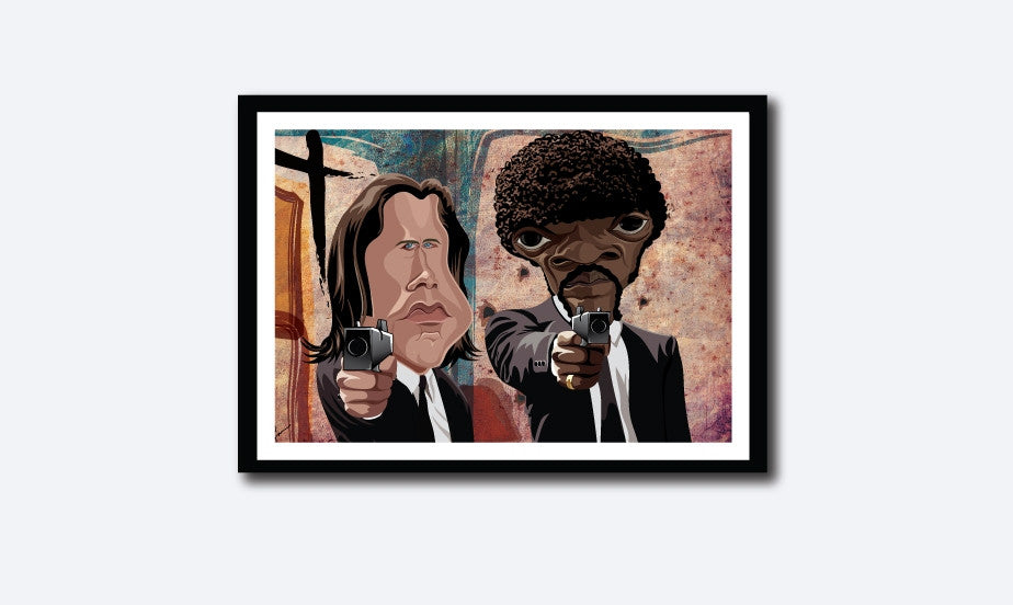 Framed visual of Pulp Fiction art by Prasad Bhat. Caricature Vector illustrative style shows Jules and Vincent pointing their guns out from the legendary scene from the movie.