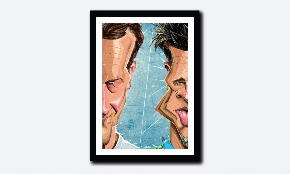Framed Poster of Fight Club in caricature art by Prasad Bhat. Image shows half the face of both Brad Pitt and Edward Norton, in line with the core theme of the movie.