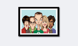 Framed visual of Big Bang Theory Tribute art by Prasad Bhat. Caricature Vector illustrative style showing all the five lead of the show.