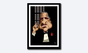 Framed Godfather Poster. Caricature Art by Prasad Bhat showing Don Corleone sitting in his iconic pose with a red pocket rose, his one hand held up and against a black backdrop.