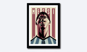 Framed Caricature Art Poster of Messi by Prasad Bhat. Argentine Footballer looking forward with his determined eyes and his football jersey against the backdrop of rugged lines and his name etched on them.