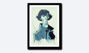 Framed poster of Sherlock Tribute artwork by Prasad Bhat. A slender pose of Sherlock looking into the front with his usual charming appeal and a grey trench coat.