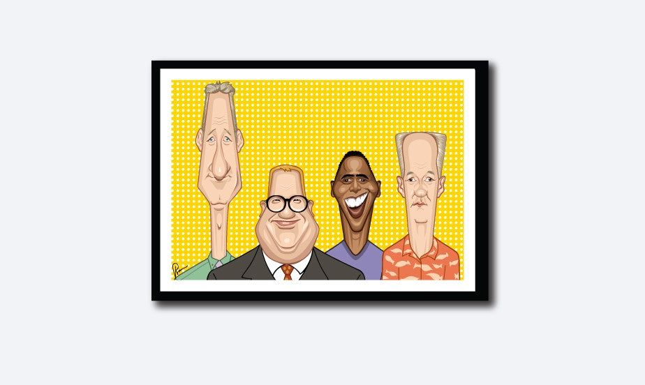 Framed Caricature Art poster of Who's Line is it anyway? by Prasad Bhat. The four leads of the show look straight forward looking their goofy selves against a vibrant yellow backdrop.