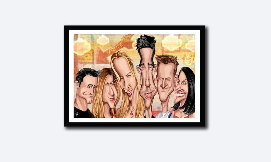 Friends Framed Poster. Caricature Art by Prasad Bhat showing the six friends looking candid in this colorful poster looking straight ahead.
