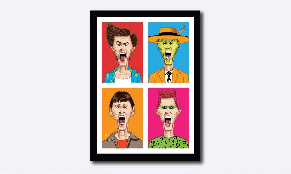 Jim Carrey's Humorous Avatars in Prasad Bhat's artwork. Four vibrant color blocks show his hilarious expressions looking straight forward in this framed artwork poster.