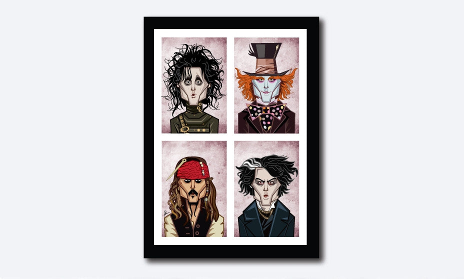 Framed Visual of Poster showing Johnny Depp in his eccentric characters in 'Alice In The Wonderland', 'Edward Scissor Hands', 'Sweeney Todd', 'Pirates Of The Caribbean' and 'Charlie And The Chocolate Factory'. Art by Prasad Bhat