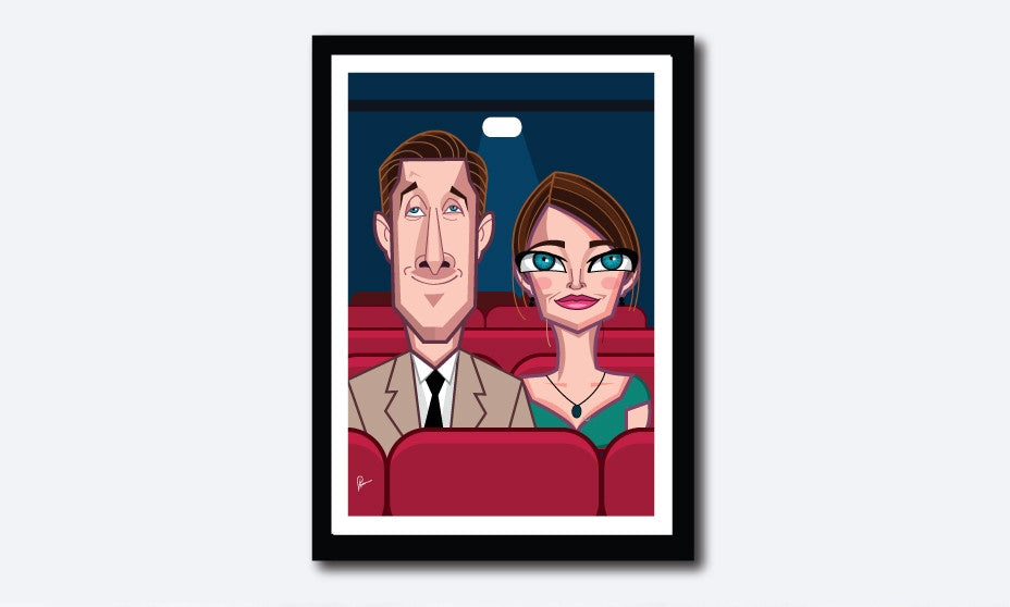 La La Land Framed Poster by Prasad Bhat. Vector Caricature Illustration of the Oscar winning cinema composition of LA LA Land. The image shows both the lead actors seated in a theatre in a warm moment.