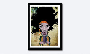 Jimi Hendrix Caricature by Prasad Bhat in a framed Poster. The artist stylized this artwork with vibrant composition and an abstract layout.