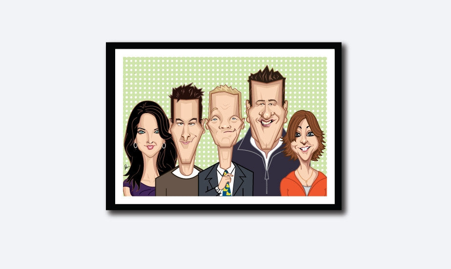 Framed How I Met Your Mother poster.Caricature art tribute by Prasad Bhat. Image shows the five lead characters looking straight forward with their usual candid smiles. Barney is adjusting his yellow duck tie.