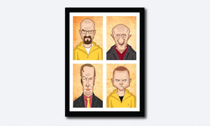 Framed Visual of Breaking Bad Poster. Tribute Fan Art in Caricature Style by Prasad Bhat. Image shows vertical block composition of the four lead characters of the show.