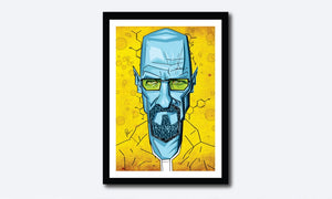 Vibrant Yellow and Blues make this Breaking Bad Artwork stand out. Vector Style Caricature by artist Prasad Bhat.