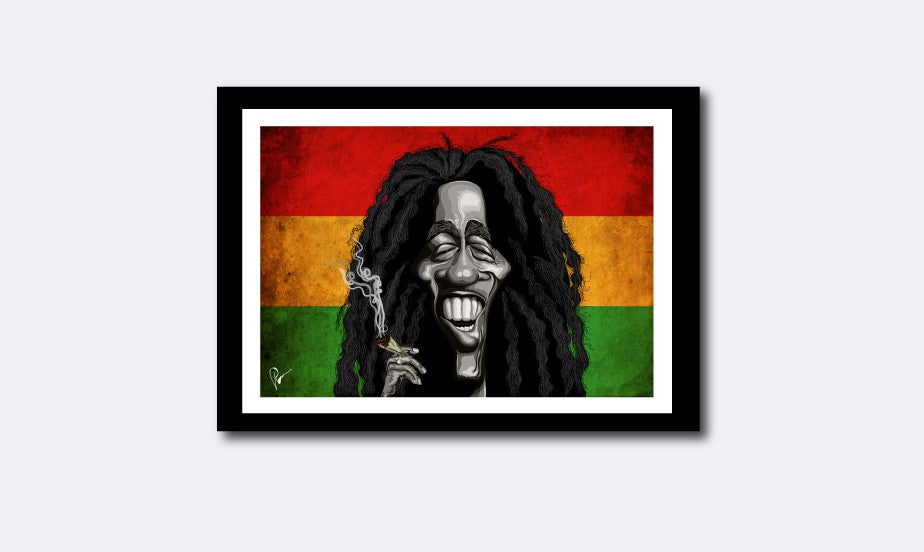 Bob Marley Framed Poster Art by Prasad Bhat. Image shows Marley smiling away with his favorite substance of choice against the famous tricolor band of red, yellow and green.
