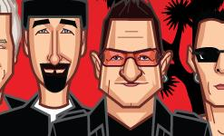 Caricature art of U2 band members by artist Prasad Bhat