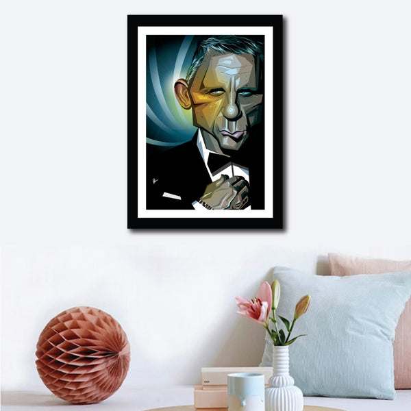 Framed Poster of James Bond Vector Caricature on a wall decor. Art shows James straightening his shirt in his usual charismatic pouty smile.