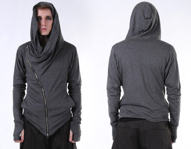 Asymmetric Zipup Hood Jacket Top T-Shirt Voth for men&women