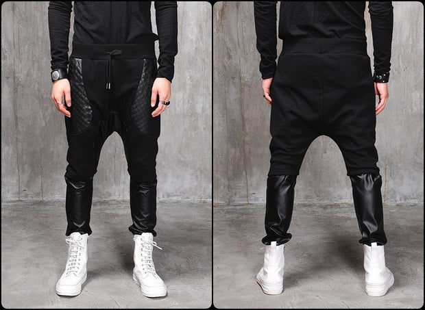 Biker Drop Crotch Dark Quilted Pocket Jersey&Faux Leather Harem Pants