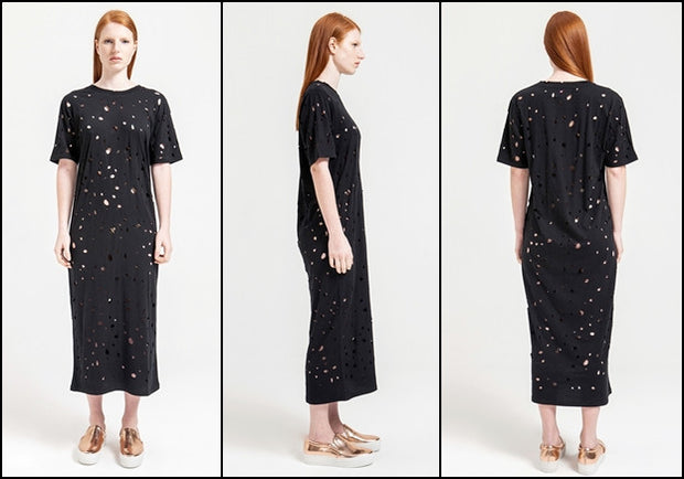 Exclusively Designed Short Sleeve Round Neck Perforated Destroyed & Slashed Viscose Jersey Dress