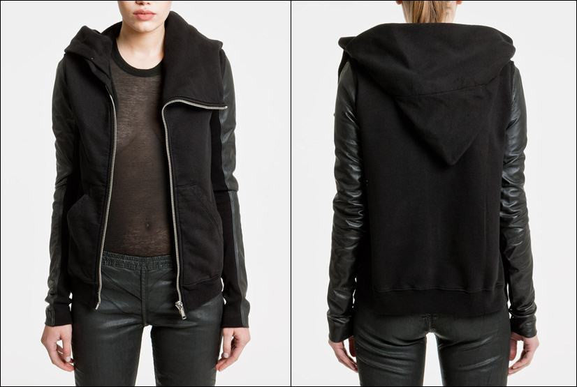 Black Dark Mountain Women Asymmetric Zip Collar Cotton Fleece Hoodie Leather Sleeves Sweatshirt
