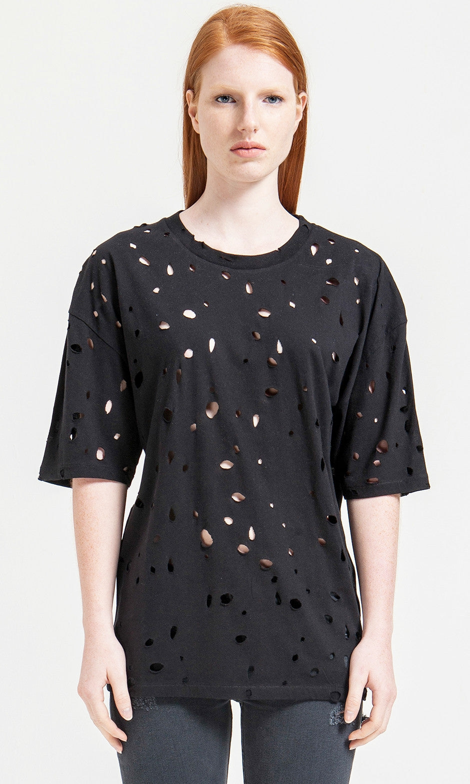 Short Sleeve Round Neck Perforated Destroyed & Slashed Viscose Tshirt