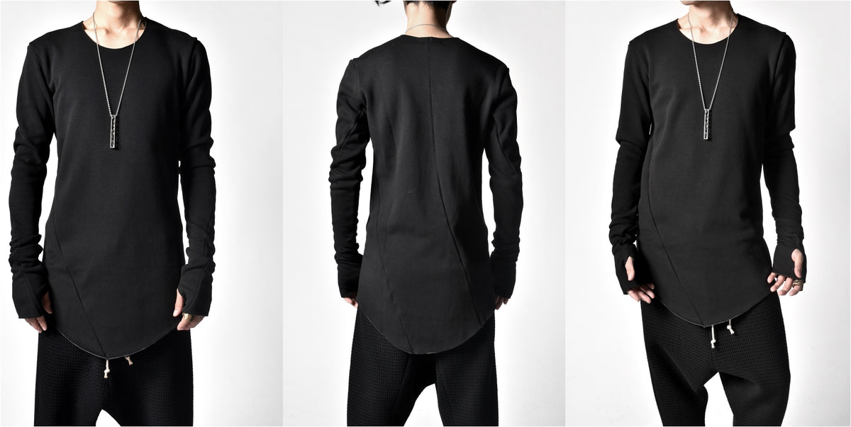 "STITCHING Sweat Pullover ""BOMBER HEAT""Asymmetry Silhouette Thumbhole"