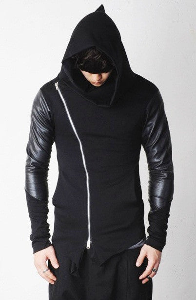 Asymmetric Zip Cowl Zip-up Hooded Leather Mix Jersey Jacket
