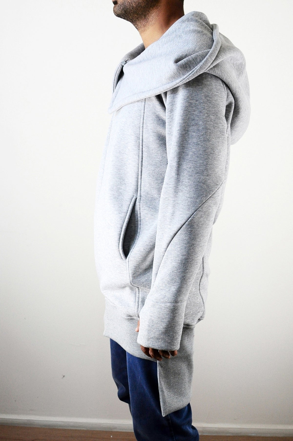 Winter Essentials Oversized Hood Long Sleeve Hoodie // Raw Edges at Sleeve Cuffs // Avant Garde Over long Assasian CREED Hoodie