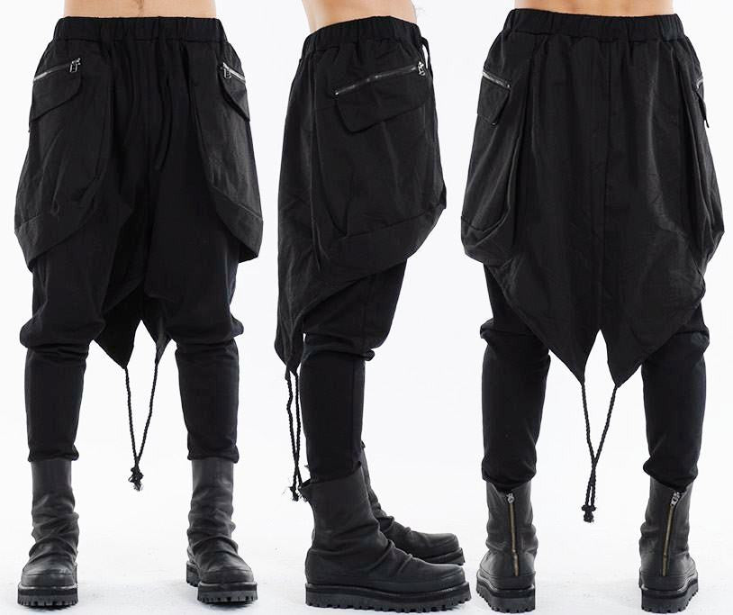 Bohemian Kilt Layered Drop Crotch Ribbed Legging Layered Shorts Pants