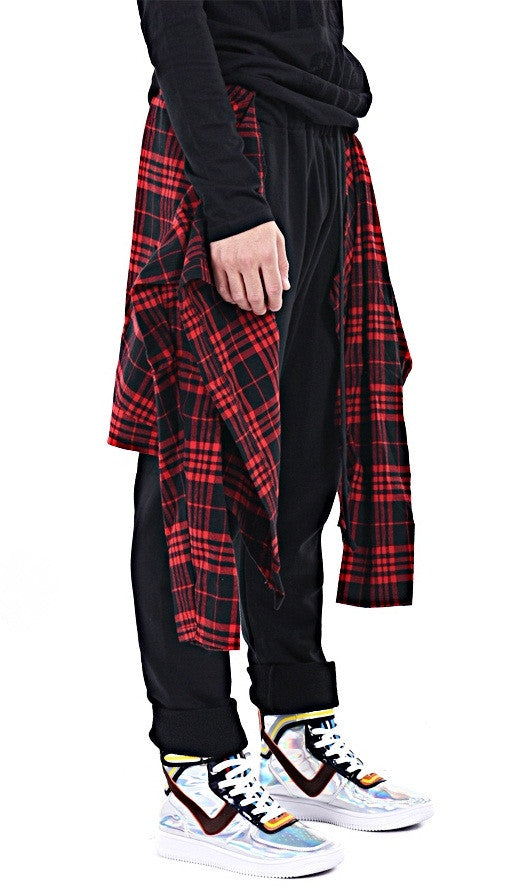 Dark Black Skirt Flannel Layer Men's Loose Casual Drop Crotch Harem Pants Jogger Trouser