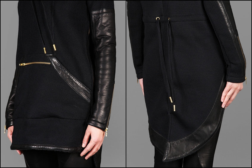 Exclusive Double Knit Zip Tunic With Faux Leather Trim Detail Back Long Hoodie Sweaters