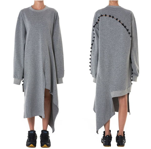 "Oversized DECONSTRUCTED Jumper DRESS / Asymmetric jersey cotton crewneck knit ""frog"" dress"