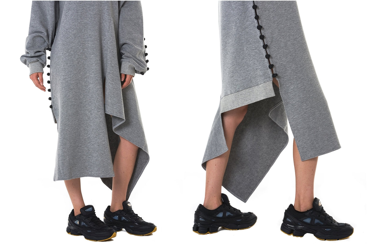 "Oversized DECONSTRUCTED Jumper DRESS / Asymmetric Crewneck Knit ""Frog"" Dress"