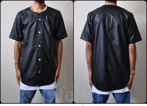 Leather Baseball Jersey Button Closure Shirt   // Handmade-- Justin Bieber Style
