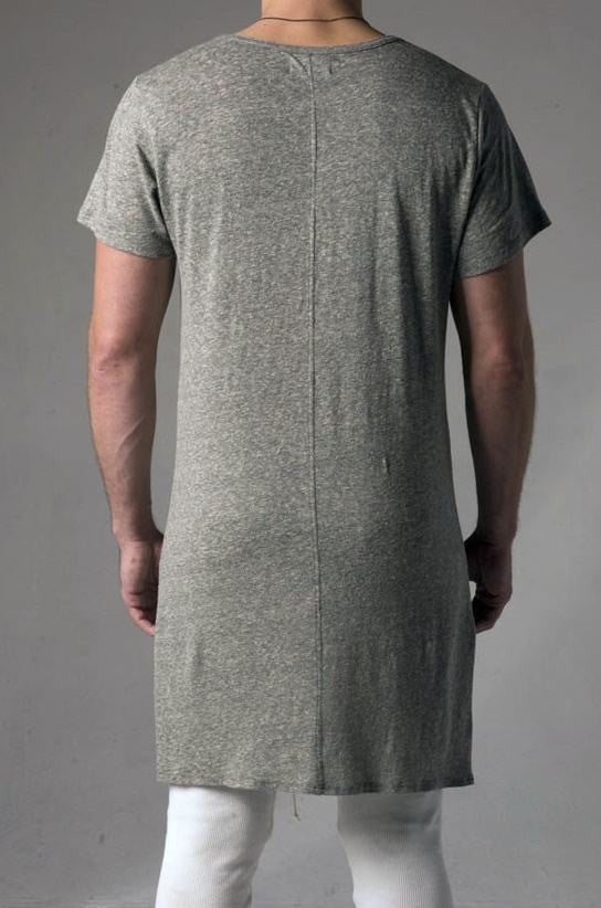 Extended Essential Short Sleeve Long Viscose Cotton Tee