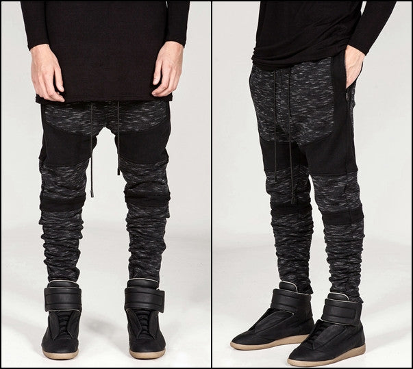 Biker Drop Crotch Shadow Joggers - Black Panel Elastic Band Trouser