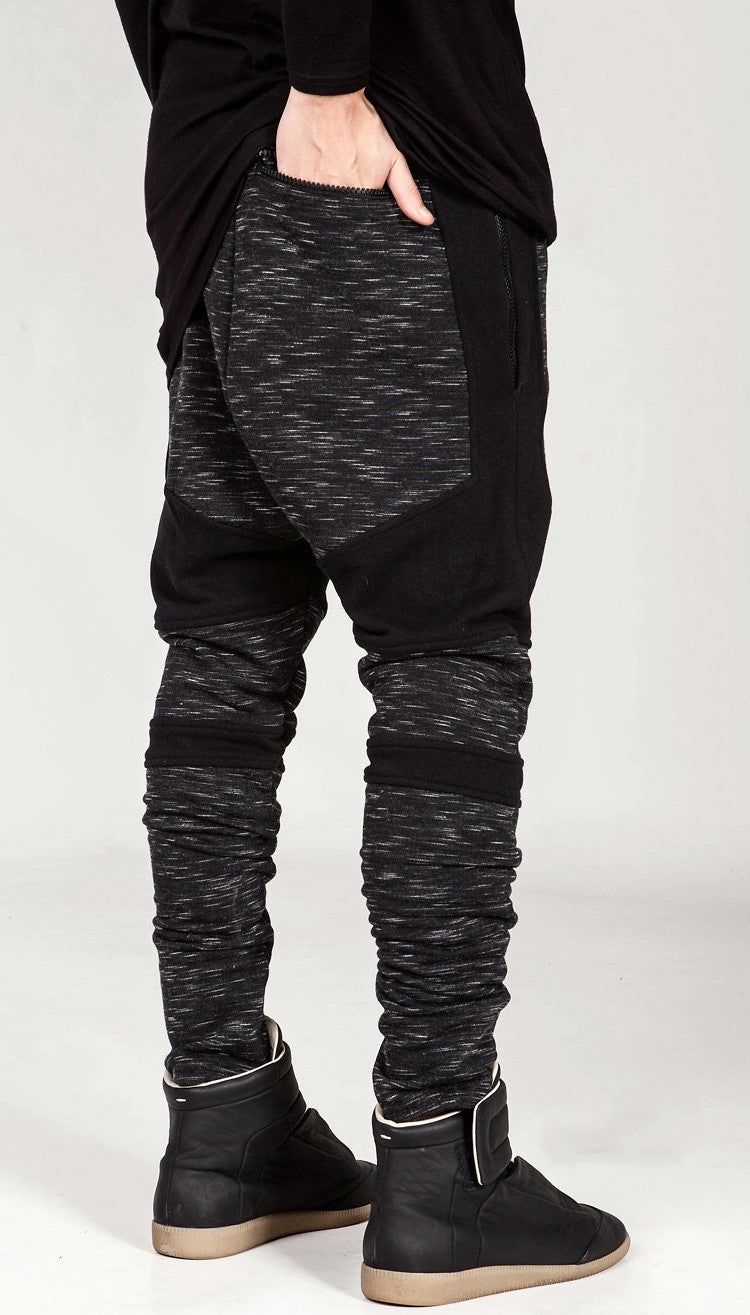 Men Biker Drop Crotch Shadow Joggers - Black Panel Elastic Band Trouser