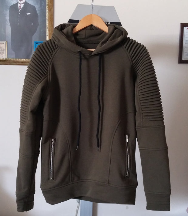 1 Men's Quilted Shoulder Front Zippers Sweatshirt Hoodie  / Skinny Fit Sweater