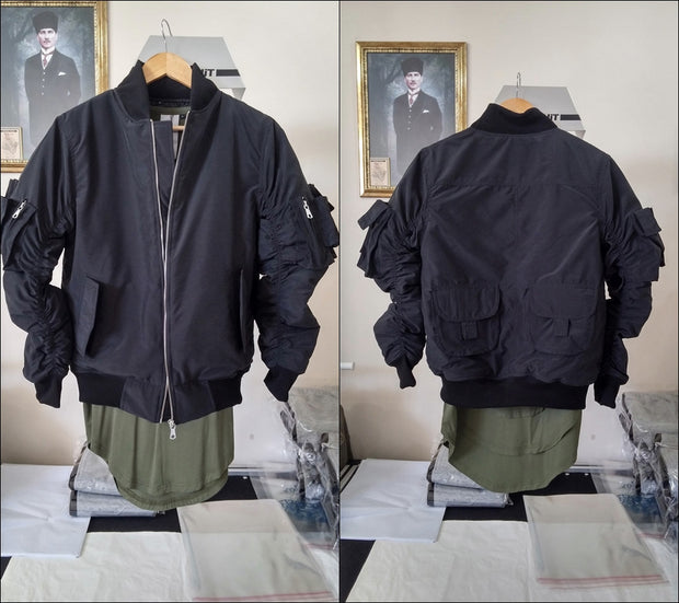 1MA1 2 Back Pocket Fog Zipper Sleeves Quilted Bomber Jacket / Flight Jacket /Stich Lines on the Side Ways