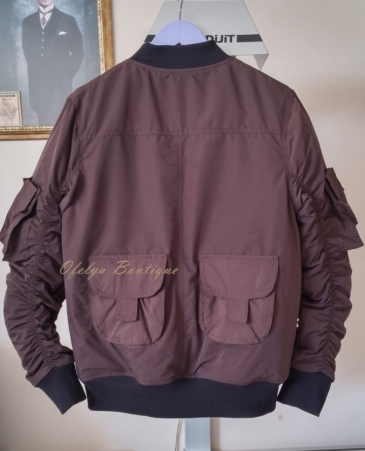 MA1 Brown with Orange Sateen Lining Back Pocket Fog Zipper Sleeves Quilted Bomber Jacket / Flight Jacket /Stich Lines on the Side Ways