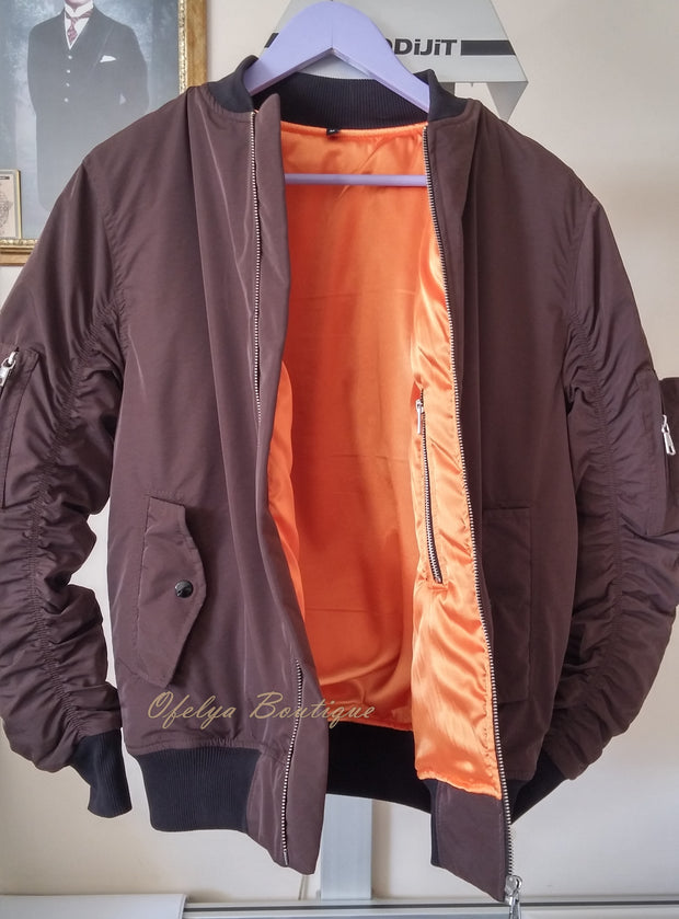 1A MA1 Brown with Orange Sateen Lining Back Pocket Fog Zipper Sleeves Quilted Bomber Jacket / Flight Jacket /Stich Lines on the Side Ways