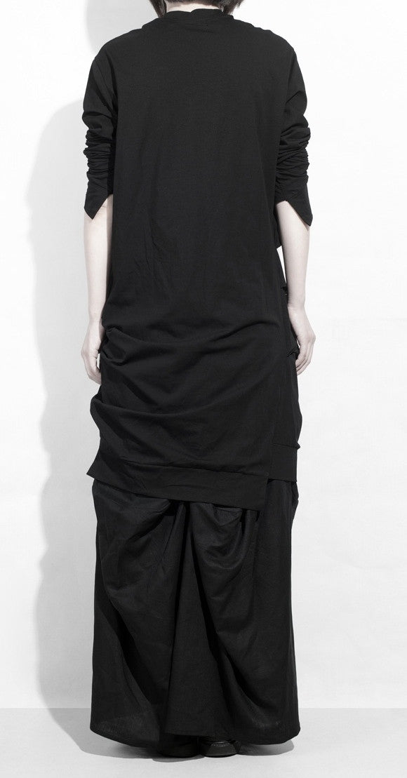 Dark Cotton Ruffle Top Hackers Draped Design Long Sleeve Tunic Dress